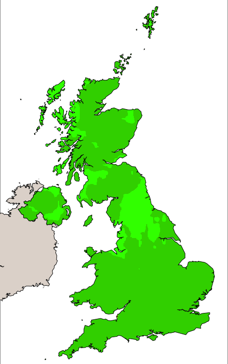 UK pollution forecast map for