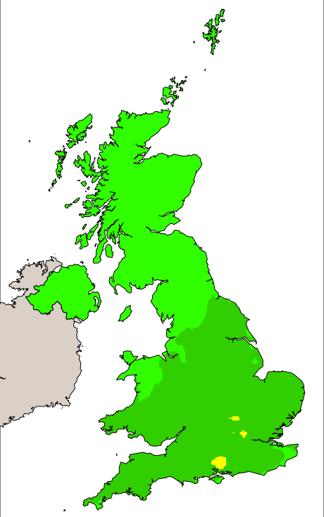UK pollution forecast map for Wednesday (8th July 2020)
