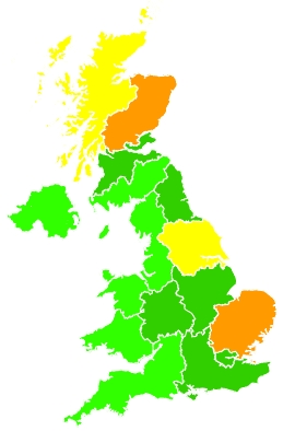 Click on a region for air pollution levels for 01/08/2020