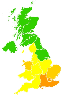 Click on a region for air pollution levels for 13/08/2020