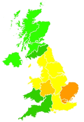 Click on a region for air pollution levels for 15/09/2020