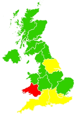 Click on a region for air pollution levels for 22/05/2020