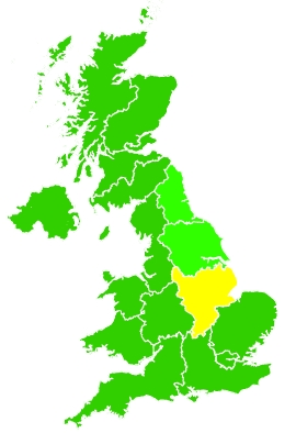 Click on a region for air pollution levels for 26/02/2021