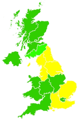Click on a region for air pollution levels for 26/03/2020