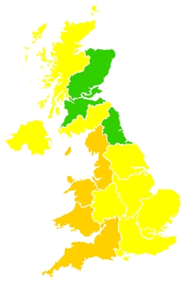 Click on a region for air pollution levels for 31/05/2020